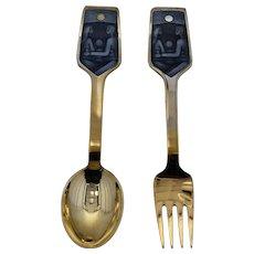 1973 A. Michelsen Sterling Gilt Enamel Christmas Spoon Fork Set Solstice & Family
