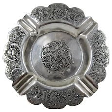 Vintage Middle Eastern 875 Silver Ashtray Incised Foliage