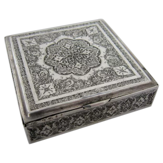 Vintage Middle Eastern Hand Chased Solid Silver Cigarette Box
