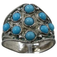 Vintage Turkish 900 Silver Turquoise Glass Cabochons Ring Adjustable