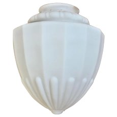 Deco Frosted Milk Glass Acorn Ceiling Light Fixture One of Three