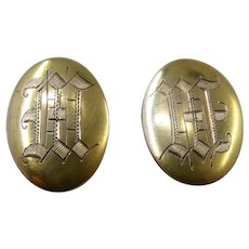 Edwardian 10K Oval Cuff Links Incised Monogrammed