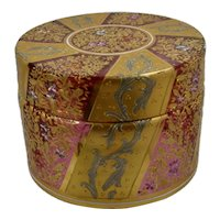 Moser Cranberry Glass Dresser Box Gold Platinum Enamels Decoration