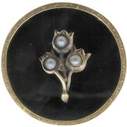 Victorian 14K Seed Pearls Onyx Mourning Pin