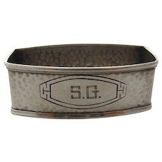 Arts & Crafts Hammered Sterling Napkin Ring Webster