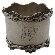 Art Nouveau Sterling Napkin Ring Curvaceous Applied Rims