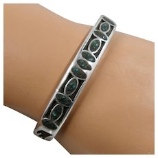 Native American Sterling Shadow Box Cuff Turquoise Mosaic Inlay