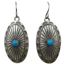 Navajo Sterling Turquoise Concho Earrings June Defauito