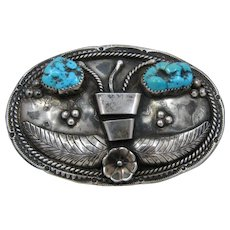 Vintage Navajo Sterling Turquoise Belt Buckle Signed LP