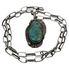 Navajo Sterling Royston Turquoise Necklace Paper Clip Chain Signed 24""