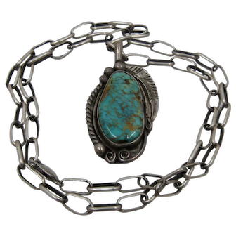 """Navajo Sterling Royston Turquoise Necklace Paper Clip Chain Signed 24"""""""