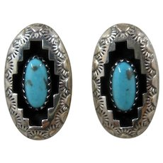 Navajo Sterling Turquoise Shadow Box Post Earrings Signed R.P.