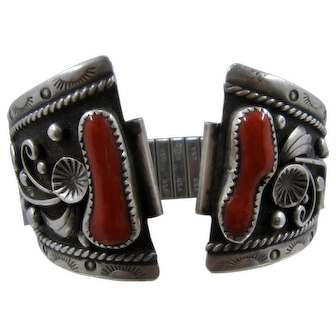 Navajo Sterling Coral Watch Tips Band by Yesslith