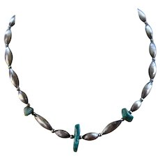 Hand Made Navajo Sterling & Turquoise Bead Necklace 17""