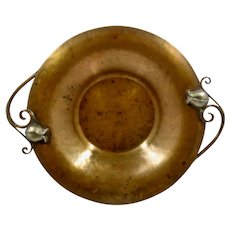 """Nekrassoff Hammered  Copper Bowl w/ Pewter Tulip Handles 11 1/2"""""""