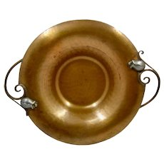 """Nekrassoff Hammered  Copper Bowl w/ Pewter Tulip Handles 8 3/8"""""""