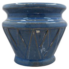 "Ca 1930 Nelson McCoy Jardiniere Blue Deco Triangles 4"""
