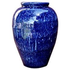 """1930s Nelson McCoy Oil Jar Floor Vase Blue & White Glaze 15"""""""