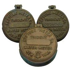Three 1930s New York Water Meter Covers Brass Neptune Trident