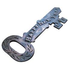Large Antique Cast Iron Key 1903 Happy New Year