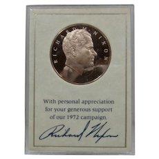 1972 Richard Nixon Bronze Presidential Campaign Medal Coin