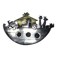 Mixed Metal Sterling Brass Mexico Noah's Ark Pendant Pin