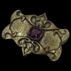 Art Nouveau Shield Shape Pin Amethyst Glass C&R Mark