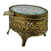 Art Nouveau Gilded Brass Dresser Box Casket Beveled Glass