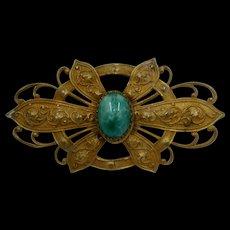 Art Nouveau Flower Sash Pin Mottled Green Stone
