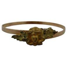 Art Nouveau Bangle Bracelet w/ Woman's Head Gold/GF Expandable