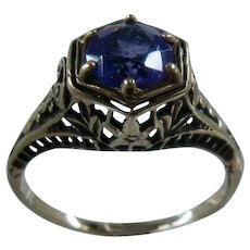 14K Deco Style Filigree Amethyst Ring Old Gold Mendocino Sz 6