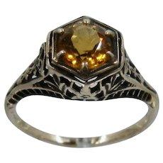 14K Deco Style Filigree Citrine Ring Old Gold Mendocino Sz 6 1/2
