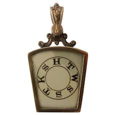 Victorian Masons 14K Etched Crystal Watch Fob Royal Arch
