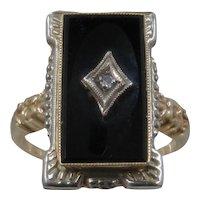 Rectangular 10K Onyx Ring w/ Diamond Ca 1930s Sz 6