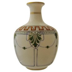 Late 1800s French Opaline Vase Hand Painted Classical Designs
