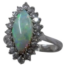 18K WG Marquise Opal Diamonds Halo Ring Sz 6 1/2
