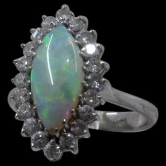 18K WG Marquise Opal Diamonds Halo Ring Sz 6 1/2