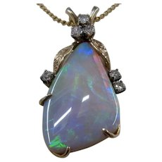 Large 14K Opal w/ Diamonds Pendant 12 Carat