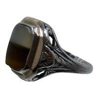 Ostby Barton Sterling 10K GF Onyx Ring Sz 5 3/4