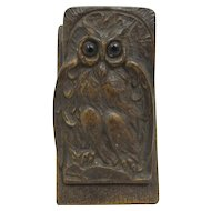 French Cast Iron Owl w/ Glass Eyes Clip Paper or Letters Late 1800s