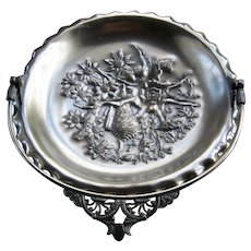 1880s Pairpoint Aesthetic Silver Plate Cake Basket Shells Flowers