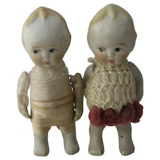 Pair Early 1900s Bisque Japanese Nippon Dolls Porcelain