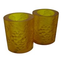 Pair Sascha Brastoff Resin Candle Holders Amber Color Grapes Motif