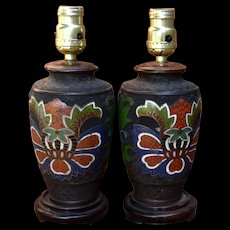 Pair Ca 1920s Chinese Champlevé Bronze Enamel Table Lamps