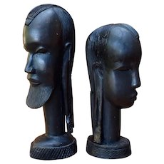 African Carved Ebony Wood Sculpture Bust Woman Man Kenya