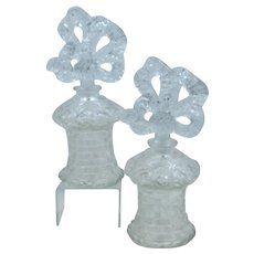Pair Imperial Glass Irice Perfumes Fan Stoppers Ca 1950