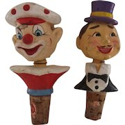 Pair Mid 1900s Reuben  Bobblehead Character Stoppers Hand Painted Japan