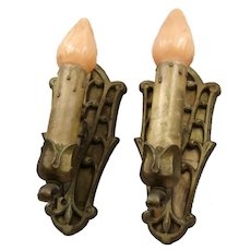Pair Art Nouveau Light Sconces Fleur de Lys Brass