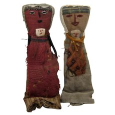 Pair Peruvian Chancay Dolls Mother & Child Antique Fabrics
