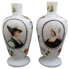Pair 19th Century Bristol Glass Vases Hand Painted Portraits
